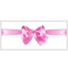 Pink bow with ribbon located horizontally vector