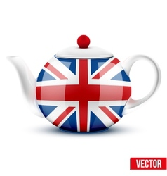 English ceramic teapot with flag of great britain vector