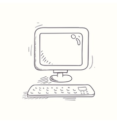 Sketched desktop computer icon vector