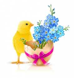 Easter holiday illustration with chicken vector