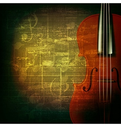 Abstract green grunge music background with violin vector