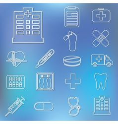 Outline hospital icons vector
