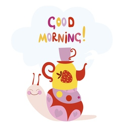 Good morning design with cute snail vector