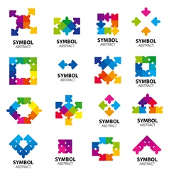 Collection of logos of abstract modules vector