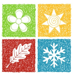 Four seasons doodle icons vector