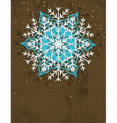 Wooden christmas card with snowflake vector