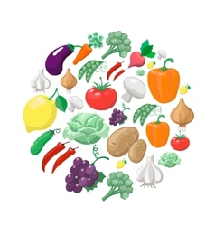 Fruits and vegetables organic food icons vector