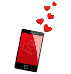 Mobile phone with hearts vector