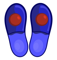 Blue bedroom slippers with red pompoms eps10 vector