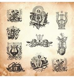 Musical engravings vector