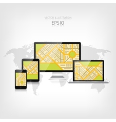 Navigation background with monitor laptop tablet vector