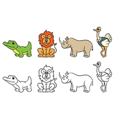 Cute zoo animals collection for coloring book vector