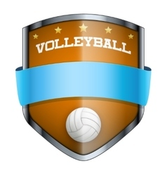 Volleyball shield badge vector