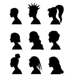 Fashion girl hairstyles set vector