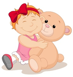 Girl with teddy bear cartoon vector
