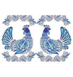 Abstract gzhel birds and ornament vector