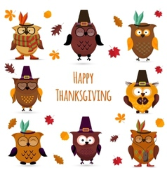 Thanksgiving day cute owl set vector
