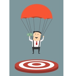 Businessman with parachute landing on target vector