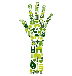 Human hand with environmental icons vector
