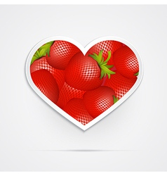 Heart shaped red strawberries vector