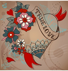 Old-school style tattoo heart with flowers vector