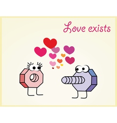 Love postcard of nut and bolt in love vector