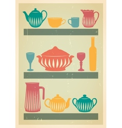Mid century dishes set vector