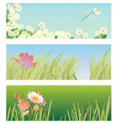Banners with grass vector