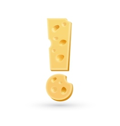 Cheese exclamation mark symbol isolated on white vector