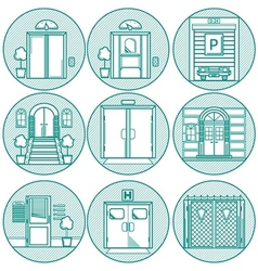 Flat line icons for door vector