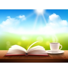 Coffee and book vector
