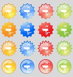 Washbasin icon sign big set of 16 colorful modern vector