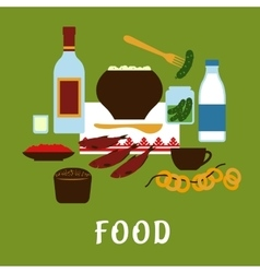 Russian traditional cuisine and food icons vector