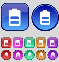 Battery half level low electricity icon sign a set vector