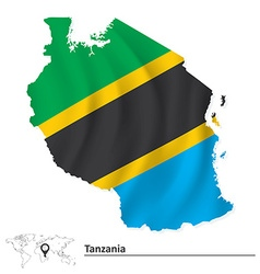 Map of tanzania with flag vector