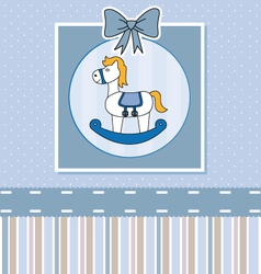 Cute baby card with rocking horse vector