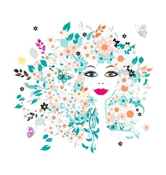 Woman face floral hairstyle for your design vector