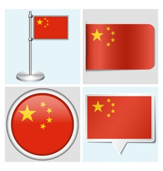 China flag - sticker button label flagstaff vector