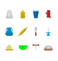 Colored icons for kitchenware vector