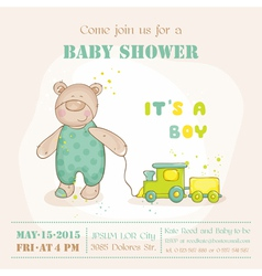 Baby shower or arrival card - with baby bear vector