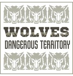 Retro ornament - wolves and inscriptions vector