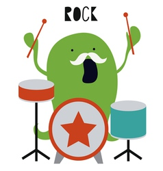 Green octopus monster drummer vector