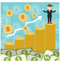 Rich and success businessman on top of gold coins vector