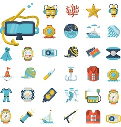 Sea leisure flat icons collection vector