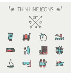 Travel thin line icon set vector