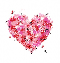 Floral heart shape vector