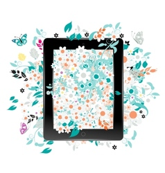 Black abstract tablet pc with floral decoration vector