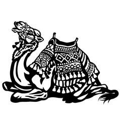 Lying camel with saddle black white vector