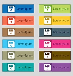 Floppy icon sign set of twelve rectangular vector