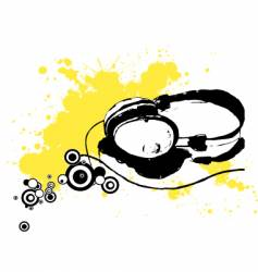 Ink drawn headphones vector